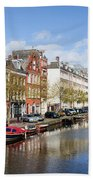 Boats On Amsterdam Canal Beach Towel