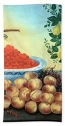Bond's Still Life Of Bird And Dwarf Pear Tree Beach Towel