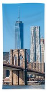 Brooklyn Bridge And New York City Manhattan Skyline Beach Towel