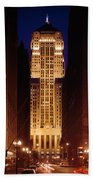Buildings Lit Up At Night, Chicago Beach Towel