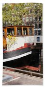 Canal In The City Of Amsterdam Beach Towel