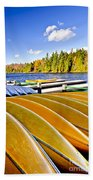 Canoes On Autumn Lake Beach Towel by Elena Elisseeva