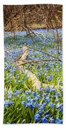 Carpet Of Blue Flowers In Spring Forest Beach Towel