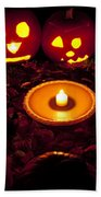 Carved Pumpkins With Pumpkin Pie Beach Towel