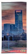 Charlotte The Queen City Skyline At Sunrise Beach Towel