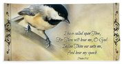 Chickadee With Verse Beach Towel