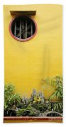 Chinese Temple Garden Detail In Vietnam Beach Towel