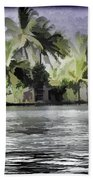 Cottage With Greenery All Around Beach Towel