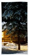 Cozy Log Cabin At Moon-lit Winter Night Beach Towel