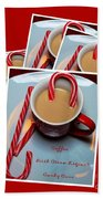 Cup Of Christmas Cheer - Candy Cane - Candy - Irish Cream Liquor Beach Towel by Barbara Griffin