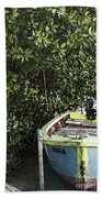 Docked By The Mangrove Trees Beach Towel