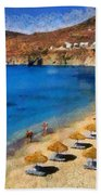 Elia Beach In Mykonos Island Beach Towel