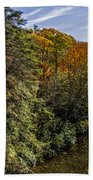 Fall Along The Linville River Beach Towel