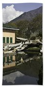 Fallen Tree In Water Pool Inside The Shalimar Garden In Srinagar Beach Towel