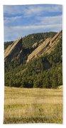 Flatirons With Golden Grass Boulder Colorado Beach Towel