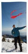 Flying A Kite On A Snowy Mountain Beach Sheet