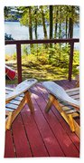 Forest Cottage Deck And Chairs Beach Towel by Elena Elisseeva