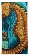Golden Seahorse Beach Towel