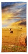 Golden Sunset Over Farm Field With Hay Bales Beach Sheet