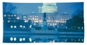 Government Building Lit Up At Night Beach Towel