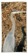 Heron In Shadow Beach Towel