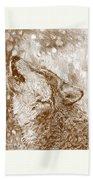 Howling Gray Wolf Beach Towel