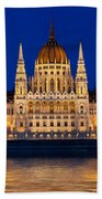 Hungarian Parliament In Budapest Beach Towel