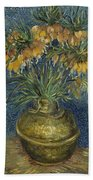 Imperial Fritillaries In A Copper Vase Beach Towel