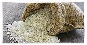 Long Grain Rice In Burlap Sack Beach Sheet