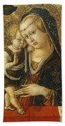 Madonna And Child Beach Towel by Carlo Crivelli