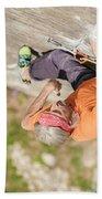 Man Climbing Re Azul, An Historic 7b Beach Towel