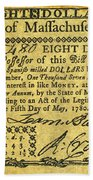 Massachusetts Banknote Beach Towel