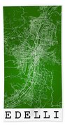 Medellin Street Map - Medellin Colombia Road Map Art On Colored  Beach Towel