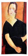 Modigliani's Madame Amedee -- Woman With Cigarette Beach Towel