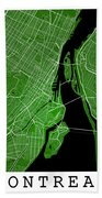 Montreal Street Map - Montreal Canada Road Map Art On Colored Ba Beach Towel