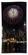 New York City Celebrates The 4th Beach Towel by Susan Candelario