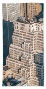 New York City Manhattan Midtown Aerial Panorama View With Skyscr Beach Towel
