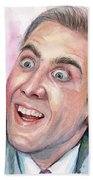 Nicolas Cage You Don't Say Watercolor Portrait Beach Sheet