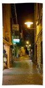 Night. Sirmione. Lago Di Garda Beach Towel