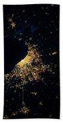Night Time Satellite Image Of Chicago Beach Towel