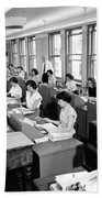 Office Workers Entering Data Beach Towel by Underwood Archives