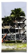 Oil Painting - Using A Crane To Help In The Preparation For The Formula One Race Beach Towel