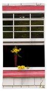 Open Window With Yellow Flower In Vase Beach Towel