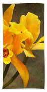 Orange Spotted Lip Cattleya Orchid Beach Towel by Rudy Umans