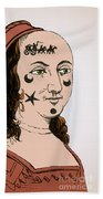 Ornamental Patches On Face 17th Century Beach Towel