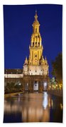 Plaza De Espana Tower In Seville Beach Towel