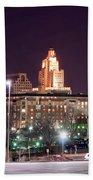 Providence Rhode Island Skyline At Night Beach Towel