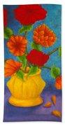 Red And Orange Flowers Beach Towel