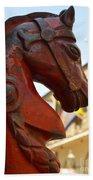 Red Horse Head Post Beach Towel