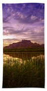 Red Mountain Reflections  Beach Towel